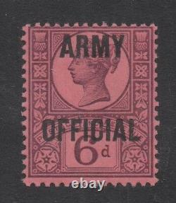 O45. 6d purple/rose-red ARMY OFFICIAL. Superb unmounted mint example