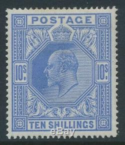SG 319 10/- blue. 1911-13. A superb unmounted mint example CAT £2100
