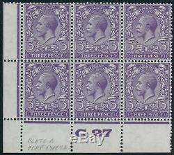Sg 423 3d Violet. A superb unmounted mint control G27 perf block of 6, type 2a